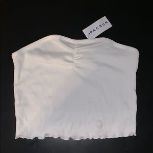 PacSun Ripped White Cropped Tube Top
